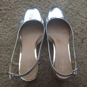 Metaphor silver heels wedges  straps Cinderella